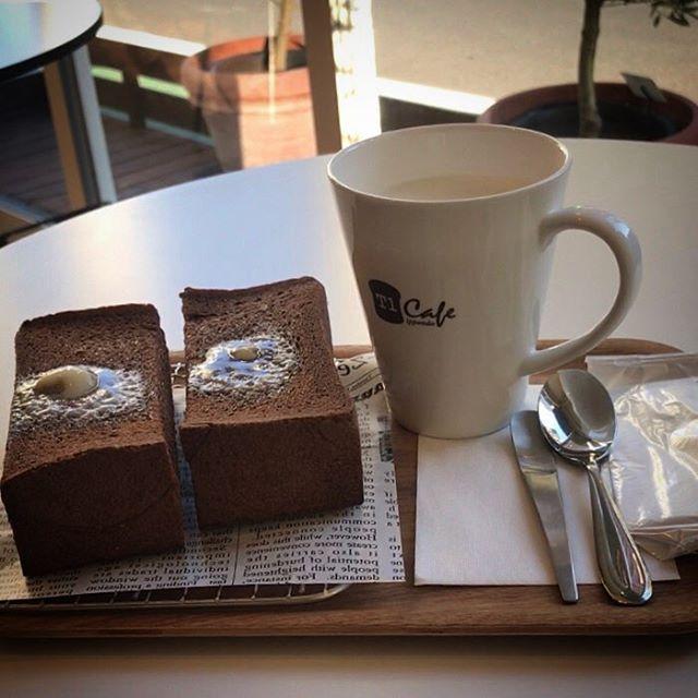 食パン専門店の一本堂カフェの厚切りココアトーストとカフェラテ️🥛美味しかった〜ふわふわサックリ🥰#yummy #cafe #cafelatte #cocoatoast #shinjuku #tokyo