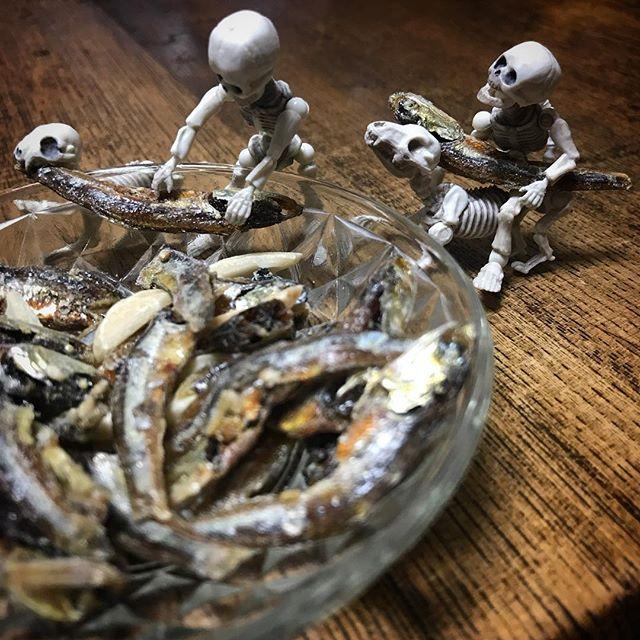 丈夫な骨のためにカルシウムとらにゃ☠️ #poseskeleton #skeleton #skeletondog #skeletoncat  #カルシウム #おやつ #almondfish #ポーズスケルトン #リーメント