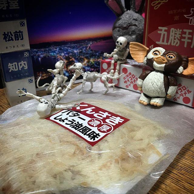 🦑今日のおやつ函館づくし☠️ #Gizmo #Mogwai #Gremlins #poseskeleton #skeleton #skeletondog #skeletoncat #usaji  #ギズモ #モグワイ #グレムリン #謎生物 #ポーズスケルトン #リーメント #うさじい