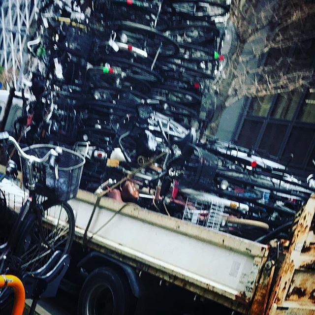 放置自転車積み上げ技術ハンパない。なんか、テトリス的な長いやつ落ちて来そう🙄 #shinjuku #tokyo #新宿